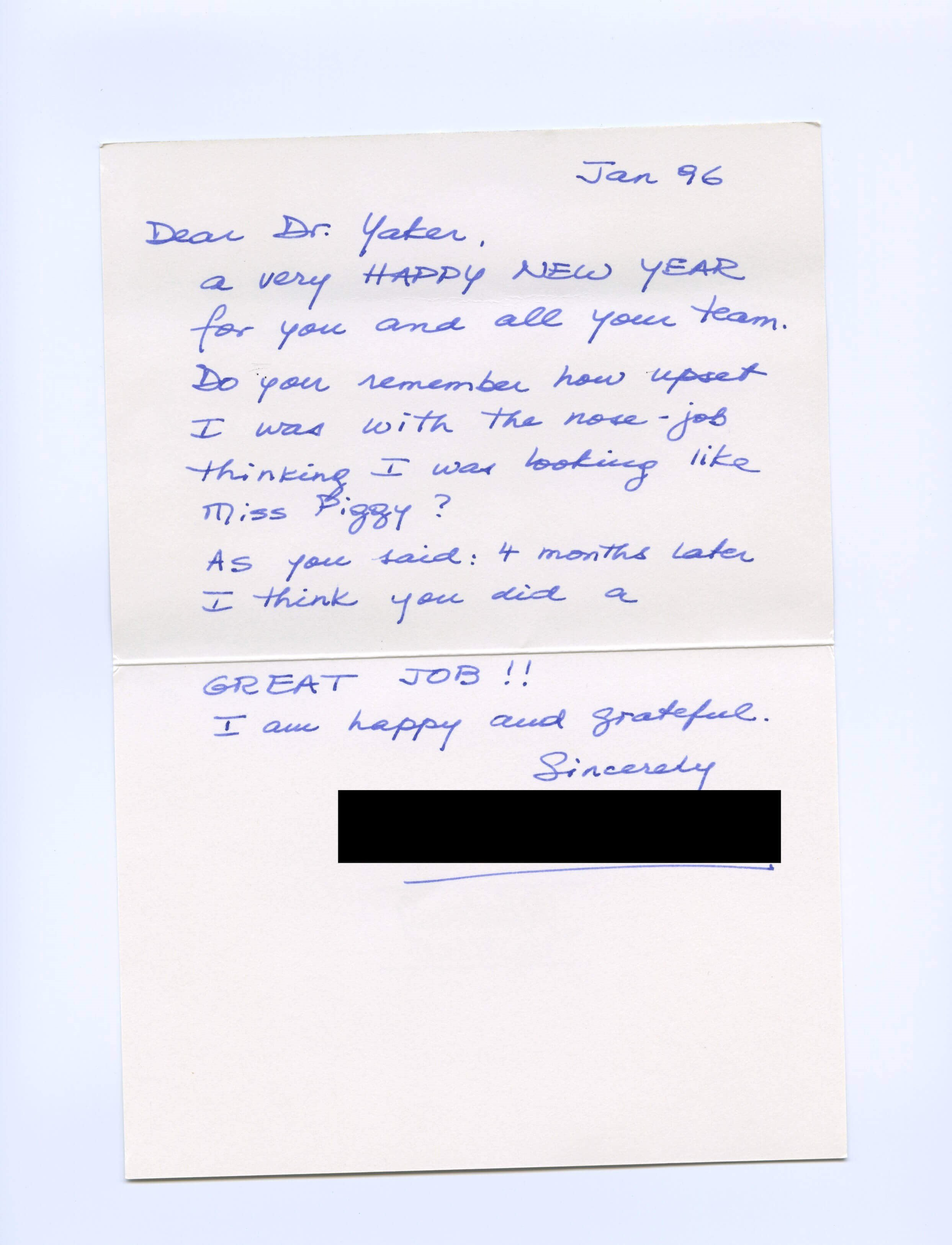 Rhinoplasty Thank You Letter